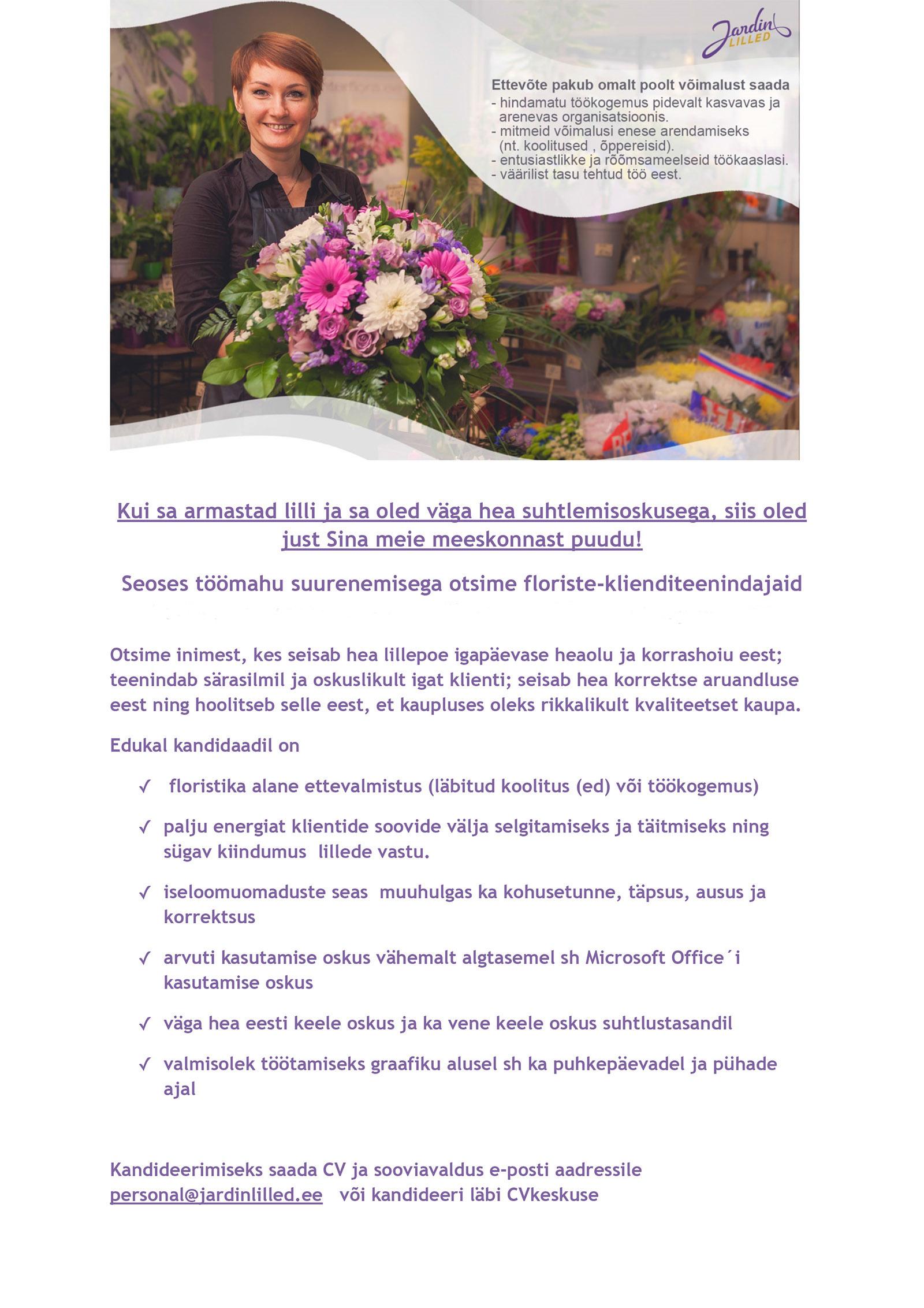 T kuulutus florist klienditeenindaja jardin lilled for Jardin lilled